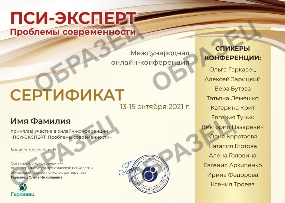 Сертификат ПСИ ЭКСПЕРТ. Проблемы современности 1633520924